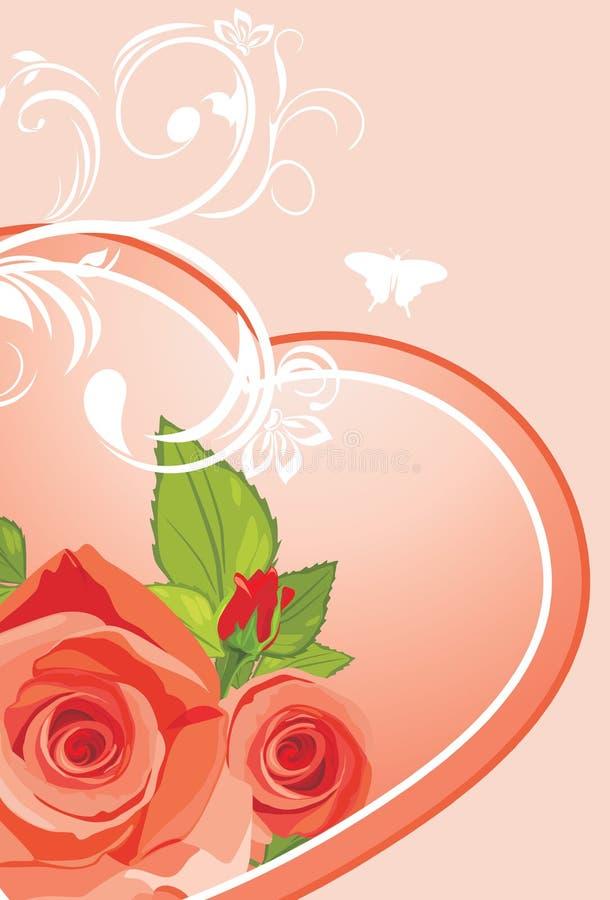 Inneres mit Rosen. Hintergrund zum Valentinsgrußtag vektor abbildung