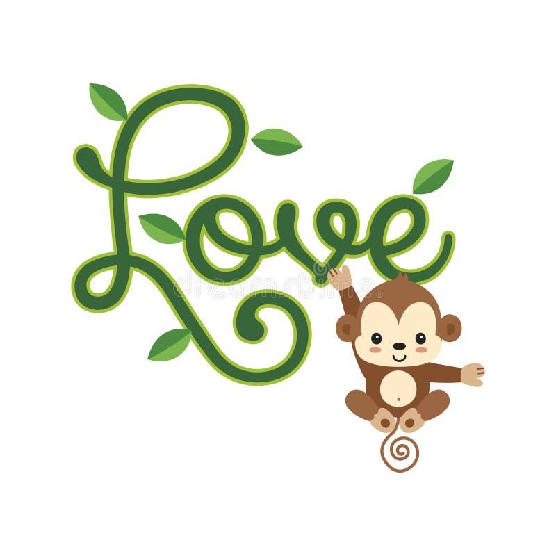 Inneres mit Schw?nen auf Retro Hintergrund Kleiner Affe, der am LIEBESbeschriften hängt lizenzfreie abbildung