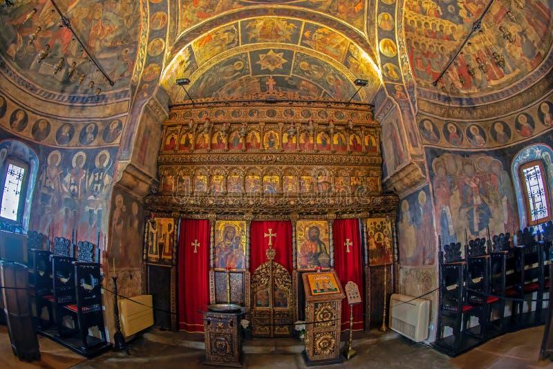 Inneres Stavropoleos-Kloster, Bukarest, Rumänien stockbilder