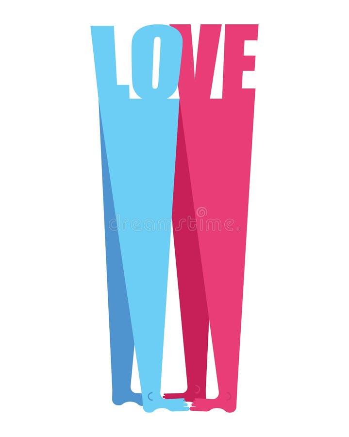 Innerform, Liebe Valentinsgruß `s Tagesgrußkarte geliebte Mann- und Frauenliebe Zwei Zahlen Umarmung Vergnügen und Leidenschaft r stock abbildung