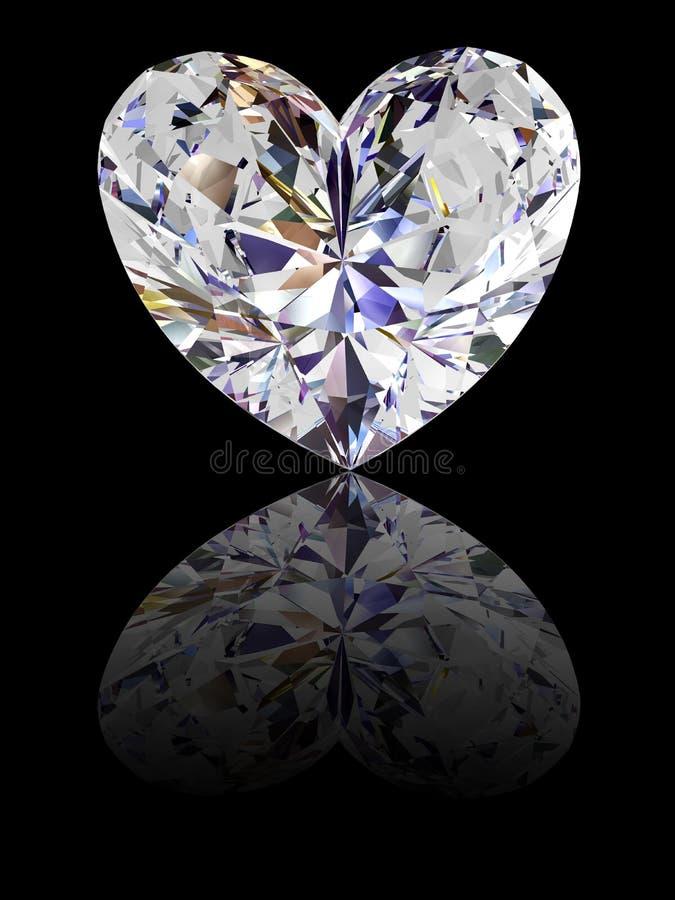 Innerformdiamant auf glattem schwarzem Hintergrund stockfotografie