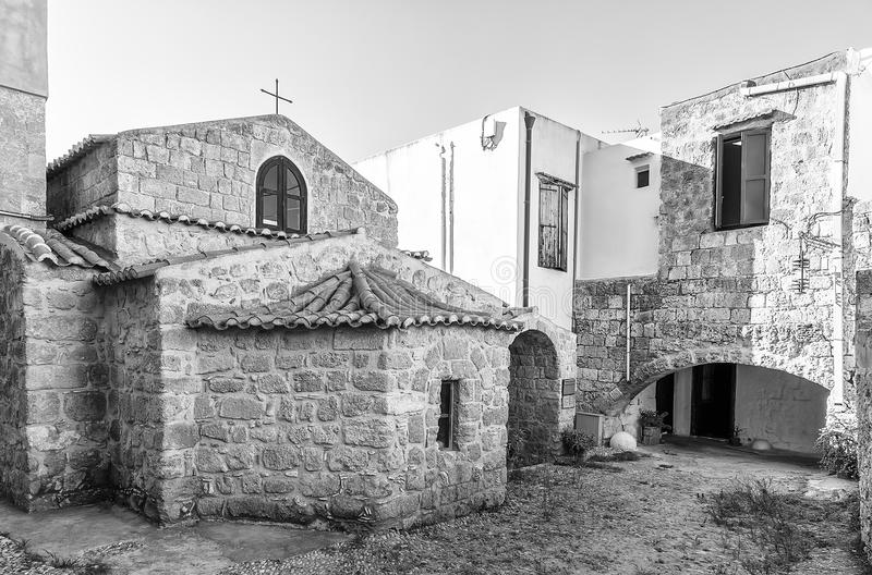 Innerhalb der alten mittelalterlichen Stadt von Rhodes The City Knights lizenzfreie stockbilder