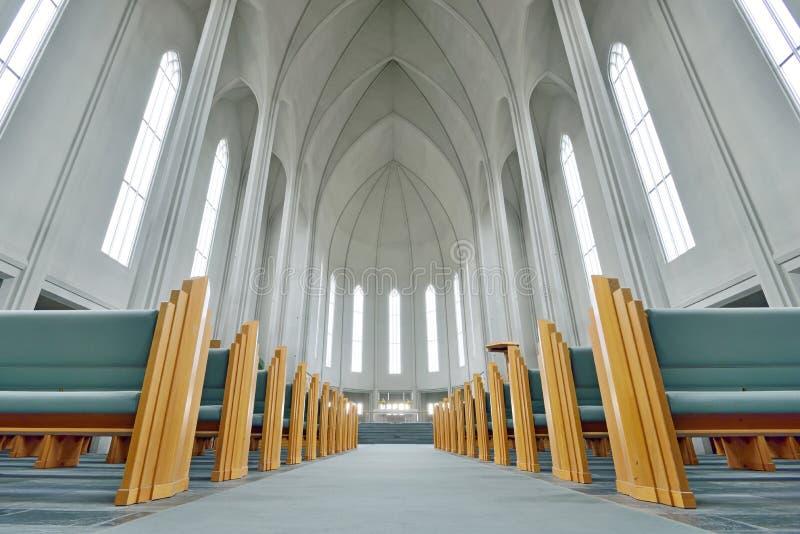Innerhalb der Hallgrimskirkja-Kirche Reykjavik stockfotos