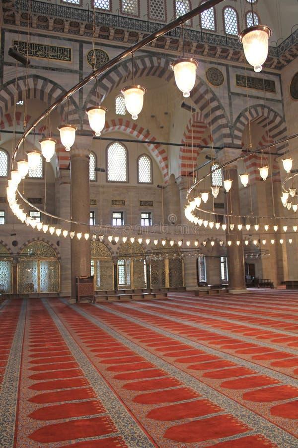 Innerhalb der Suleymaniye Moschee in Istanbul stockbilder