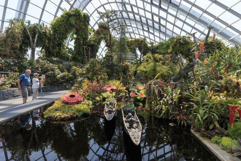 Innerhalb der Wolke Forest Dome Gardens durch die Bucht in Singapur Auf Hintergrund einige Touristen, die vorbei gehen lizenzfreies stockbild