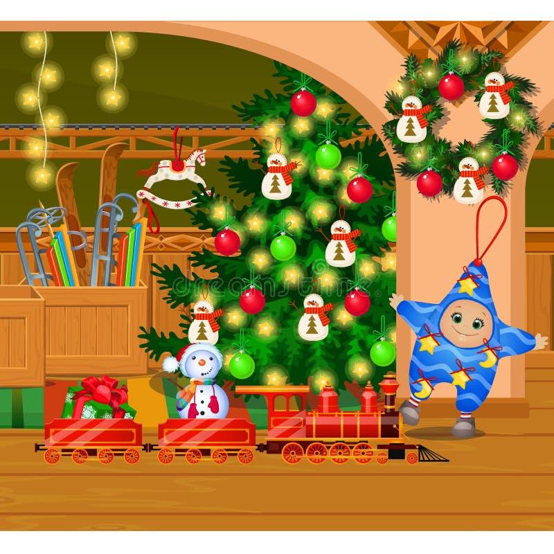 Innerhalb des alten gemütlichen Hauses Hausausstattung Weihnachtsbaum, Kranz mit Spielwaren und Flitter, Girlande Skizze von fest stock abbildung
