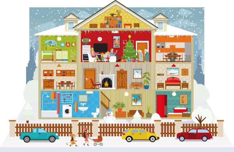 Innerhalb des Hauses (Weihnachten) lizenzfreie abbildung
