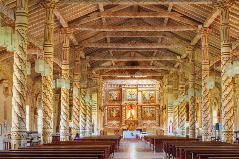 Innerhalb des Kirche St. Xavier, Jesuitaufträge, Bolivien, Welterbe stockfotografie