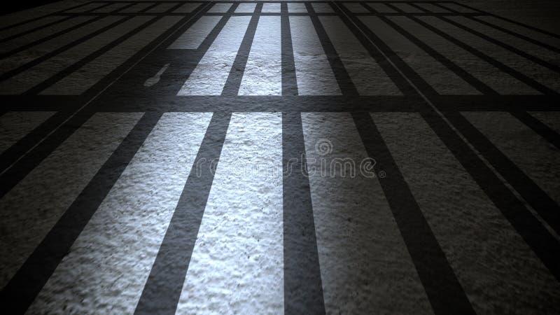 Innerhalb eines Gefängnisses mit drastischer Leuchte stock abbildung