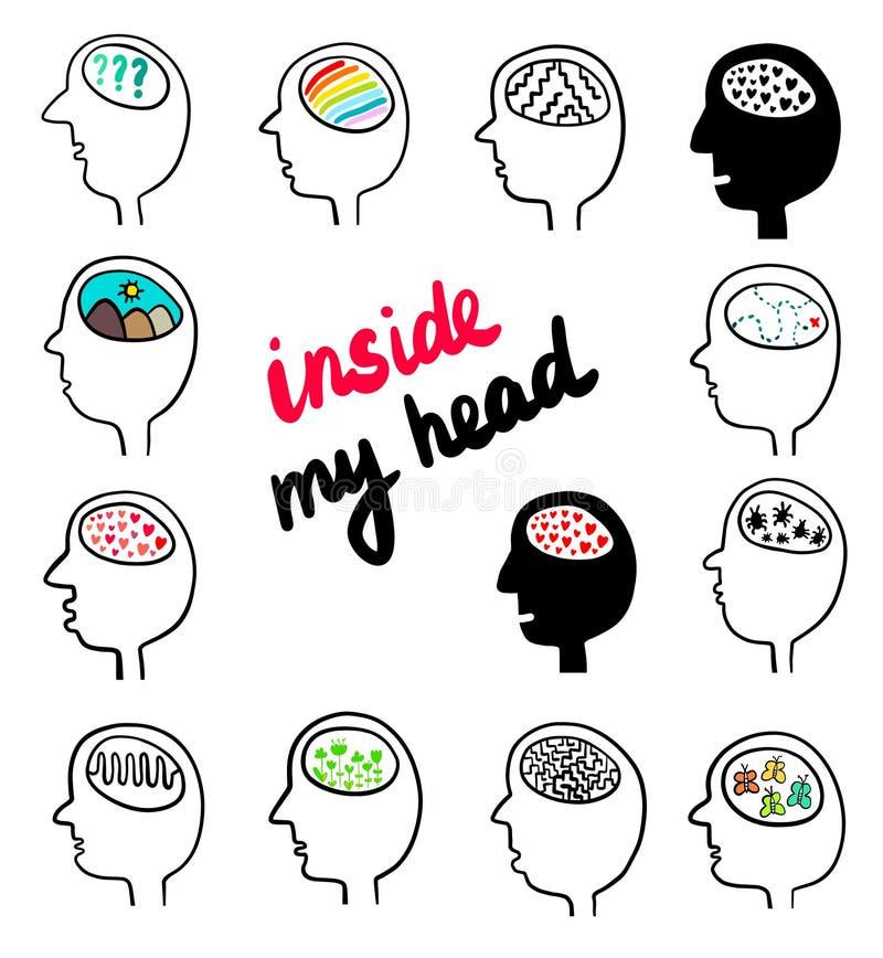 Innerhalb meines Haupthandgezogenen Satzes verschiedener Köpfe mit Gehirnen stock abbildung