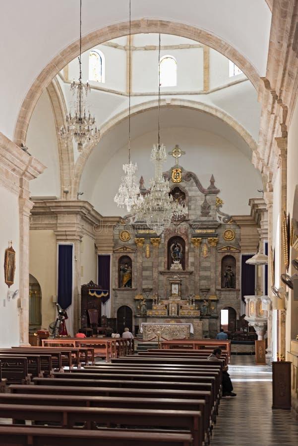 Innerhalb unserer Dame der Unbefleckten Empfängnis, Kathedrale in Campeche, Mexiko lizenzfreie stockbilder