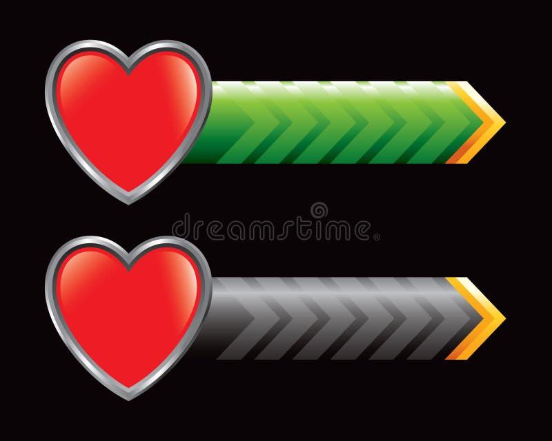 Innerikone auf den grünen und schwarzen Pfeilen vektor abbildung