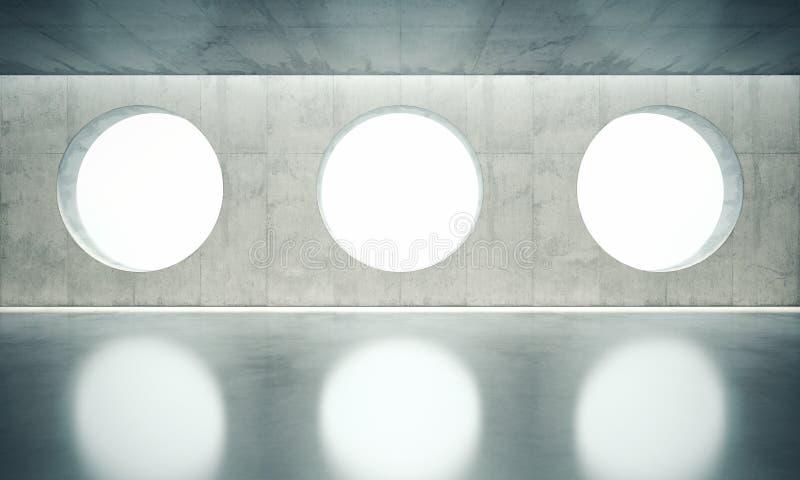 Innervägg för tomt utrymme med fönster för vit tre stock illustrationer