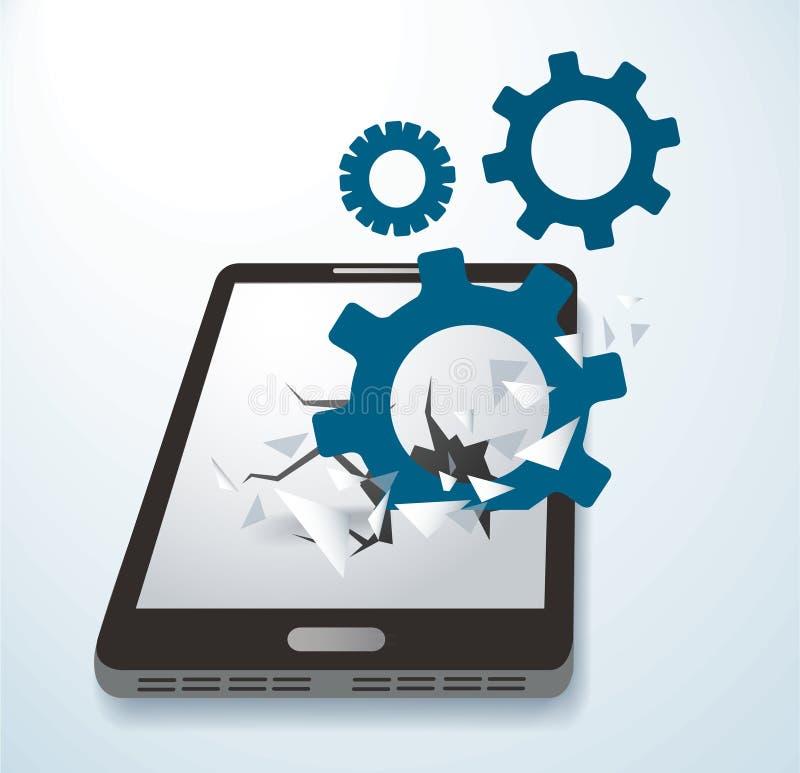 Innesta l'icona che attraversa il vettore dello schermo dello smartphone illustrazione di stock