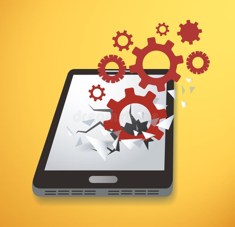 Innesta l'icona che attraversa il vettore dello schermo dello smartphone illustrazione vettoriale