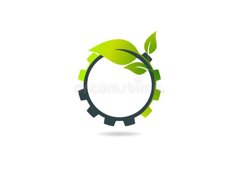 Innesti la foglia, progettazione di logo di vettore dell'ingranaggio della pianta illustrazione di stock