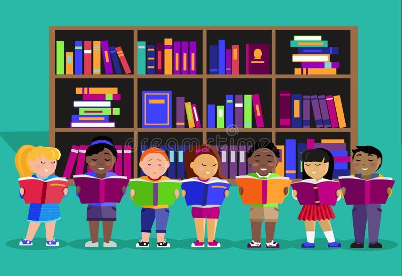 Inni dzieci Czytający książki w bibliotece ilustracja wektor