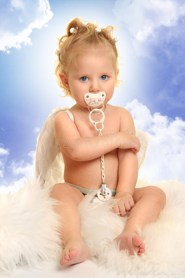 Download Innocence on blue 2 stock photo. Image of fairy, cherub - 18120196