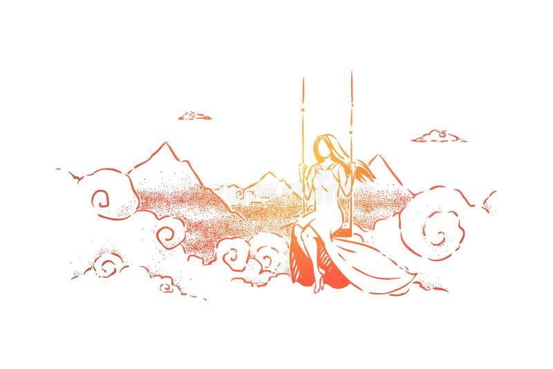 Innocence, solitude et solitude, métaphore abstraite de liberté illustration de vecteur