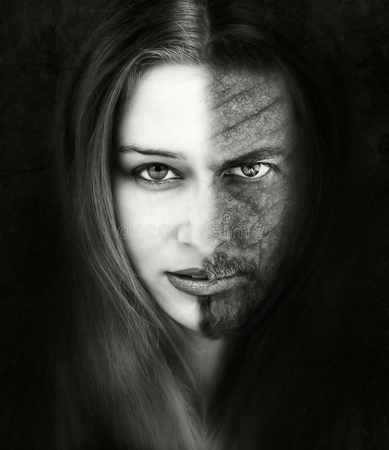 Free Innocence Versus Evil. Beautiful And Ugly. Bad Or Good. Beauty And The Beast Concept Stock Photo - 5130160