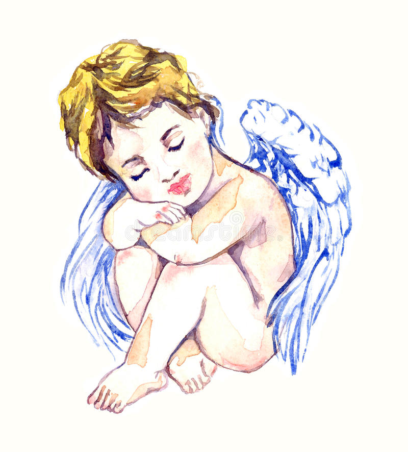 Innocent angel dreaming. Hand painted watercolor illustration, Innocent angel dreaming vector illustration