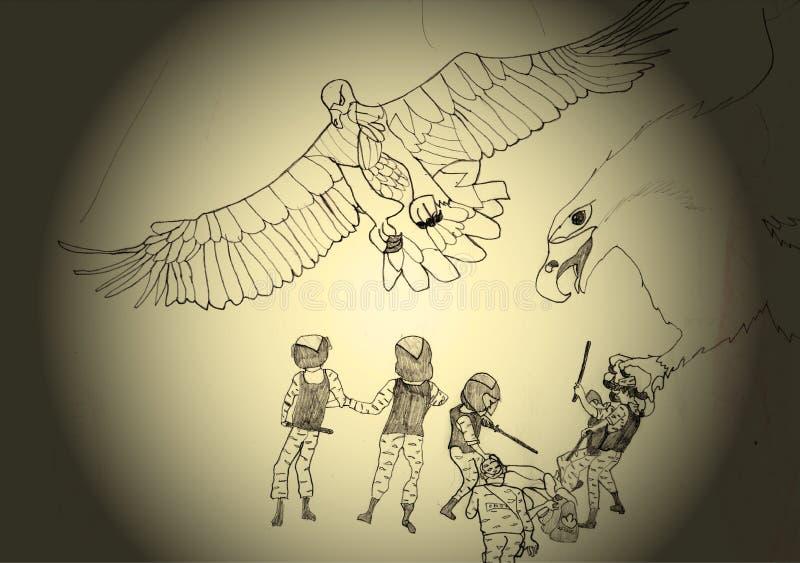 Saving citizen eagles  royalty free illustration