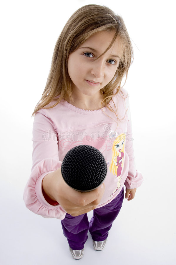 Download Innocent Girl Showing Microphone Stock Image - Image of posing, innocence: 7025981