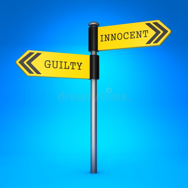 Innocent or Guilty. Concept of Choice. royalty free illustration