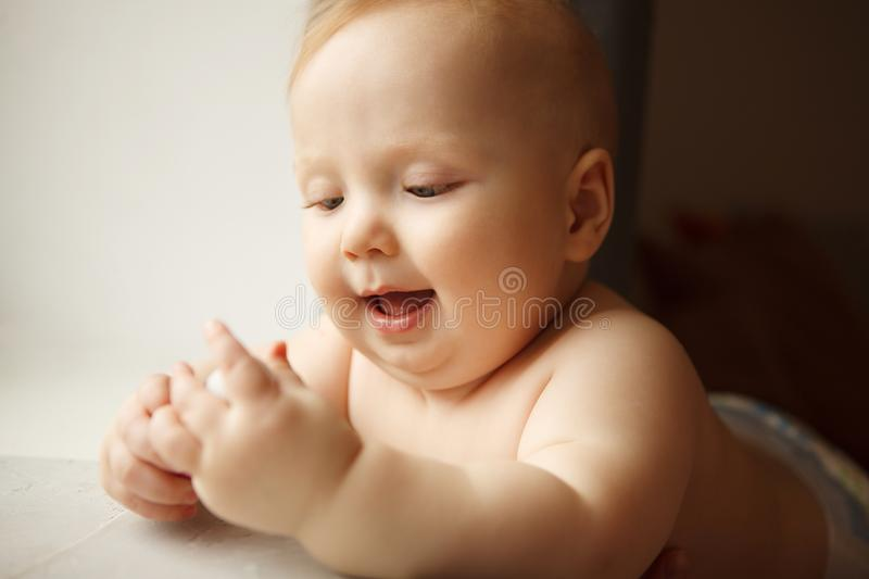 Innocent infant with perfect skin royalty free stock image