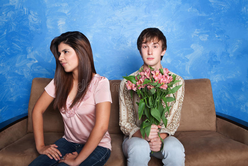 Innocent Man With Flower Bouquet stock photo