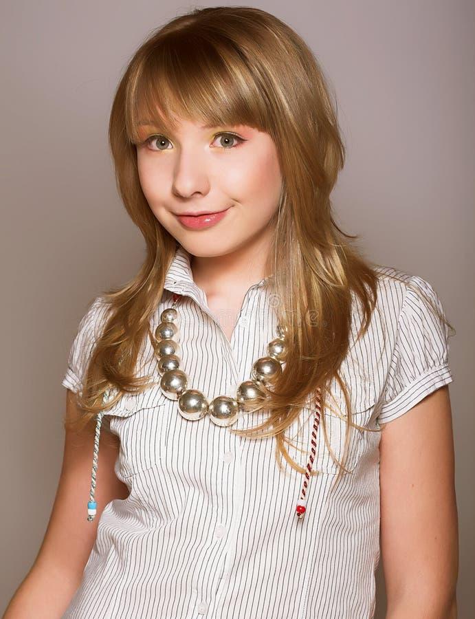 Innocent teen girl stock image. Image of pretty, hair