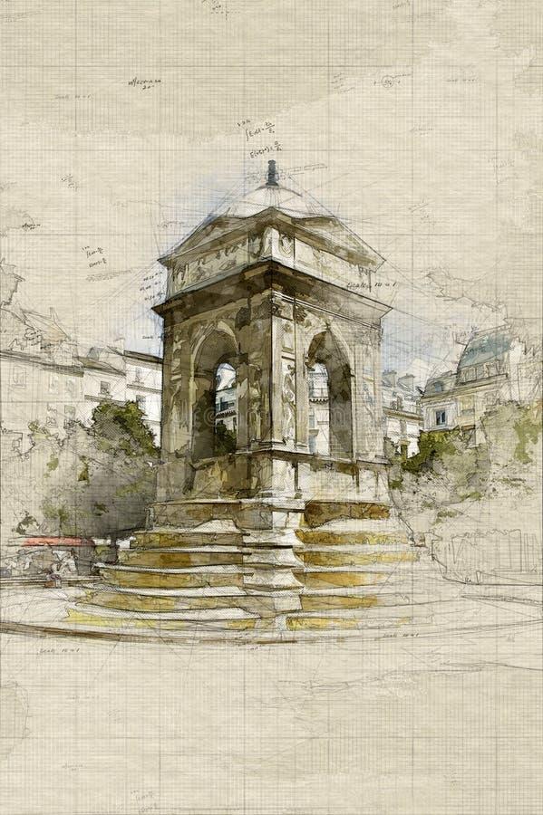 Innocenti del DES di fontaine della La a Parigi illustrazione vettoriale
