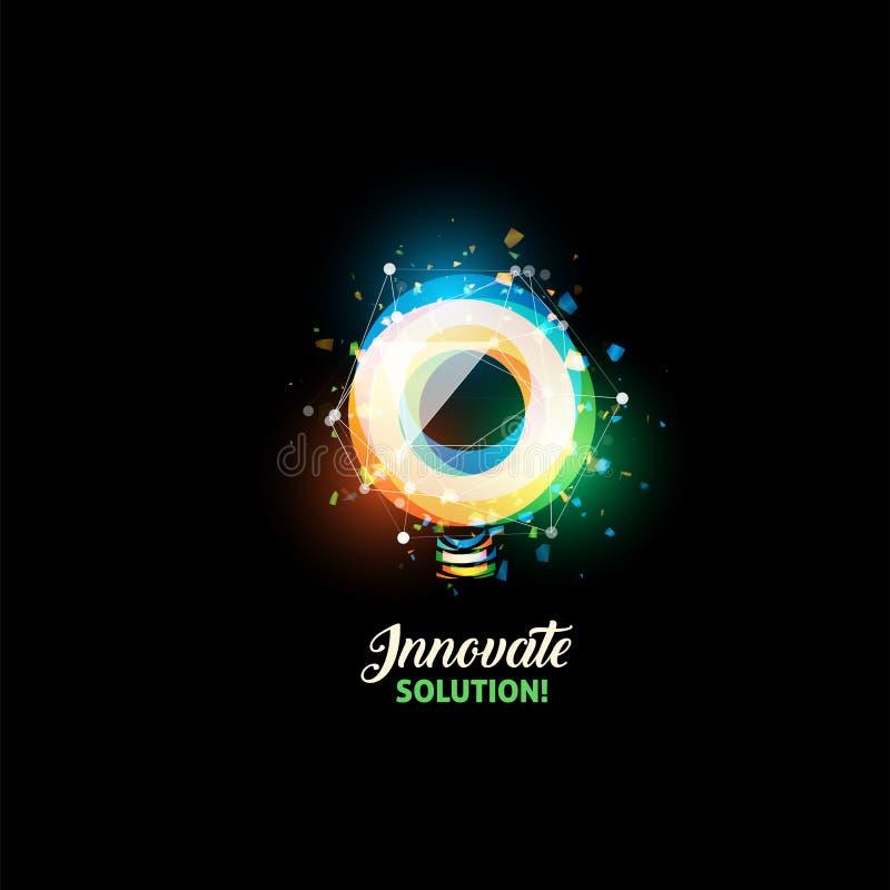 Innova il logo della soluzione, icona di vettore dell'estratto della lampadina Forma rotonda variopinta isolata, lampada stilizza illustrazione vettoriale