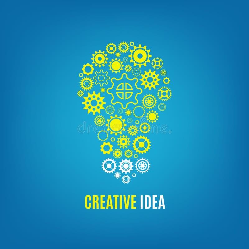 Innovación, concepto creativo del vector de la idea con la bombilla y engranajes libre illustration