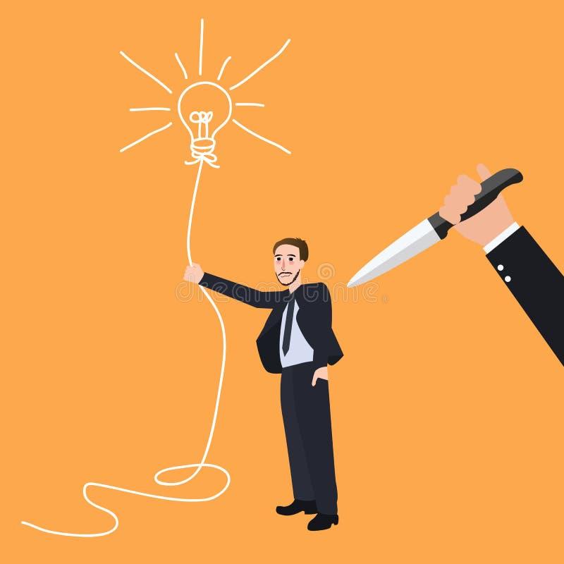 Innovación creativa del conflicto de la traición de la puñalada de la innovación de la idea de la matanza detrás ilustración del vector