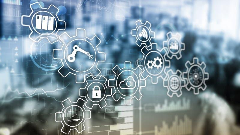 Innovación de la tecnología y automatización de proceso Industria elegante 4 ilustración del vector
