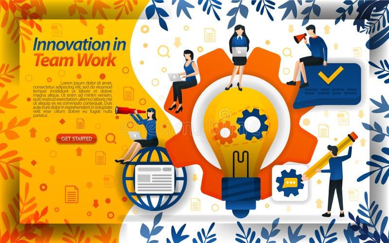Innovaci?n en creatividad del aumento del trabajo y trabajo en equipo con las ideas y las luces, ilustration del vector del conce ilustración del vector