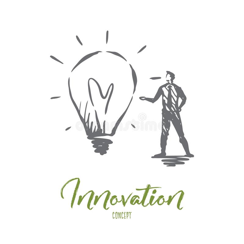 Innovación, idea, tecnología, bulbo, concepto creativo Vector aislado dibujado mano ilustración del vector