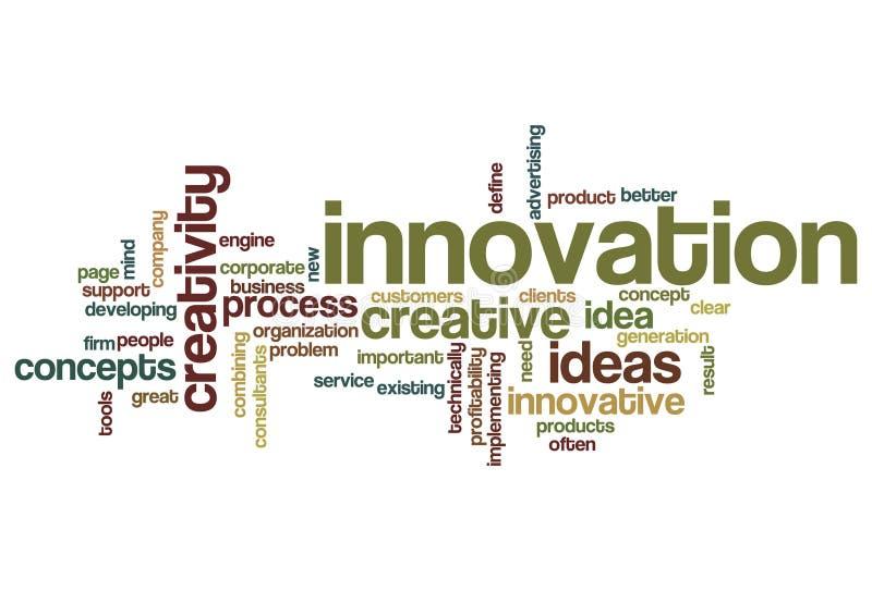 Innovación - nube de la palabra imagen de archivo