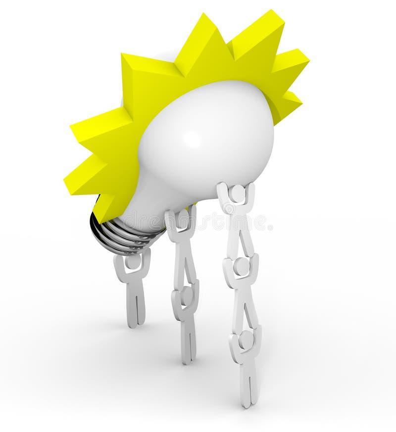 Innovación - personas que levantan la bombilla ilustración del vector