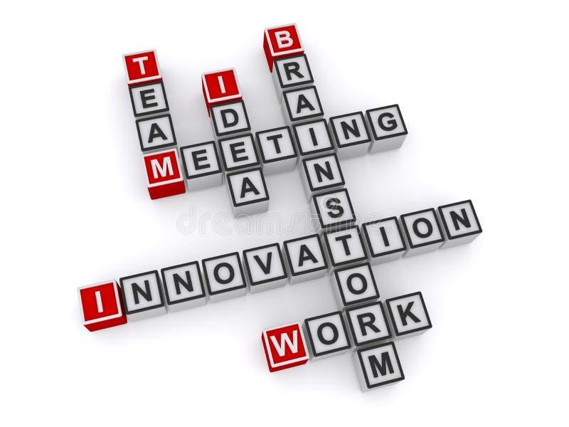 Innovación reunión equipo idea brainstorm trabajo palabra cruz fotografía de archivo libre de regalías