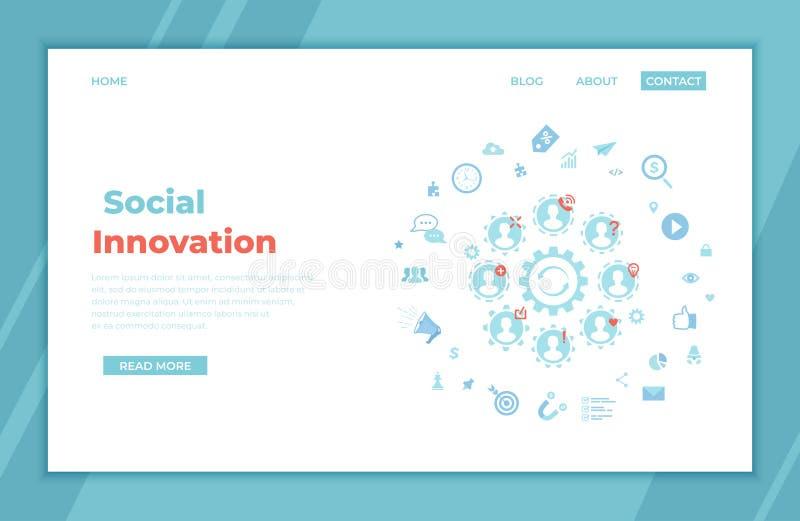 Innovación social Tecnología de la estrategia de la idea Nuevos cambios, ommunications del ¡de Ð, trabajo en equipo, trabajo junt stock de ilustración