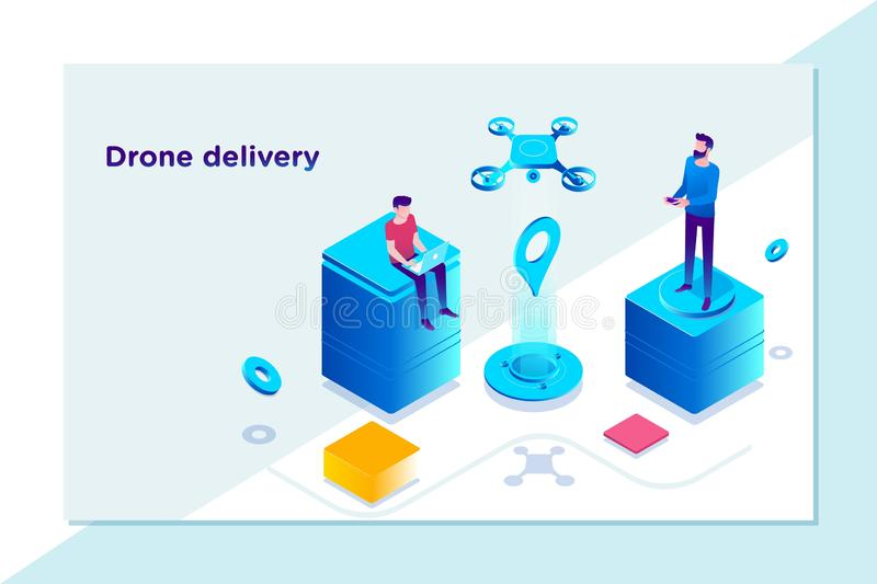 Innovación tecnológica moderna de la entrega - concepto rápido de la entrega del abejón, plantilla de aterrizaje de la página eje libre illustration