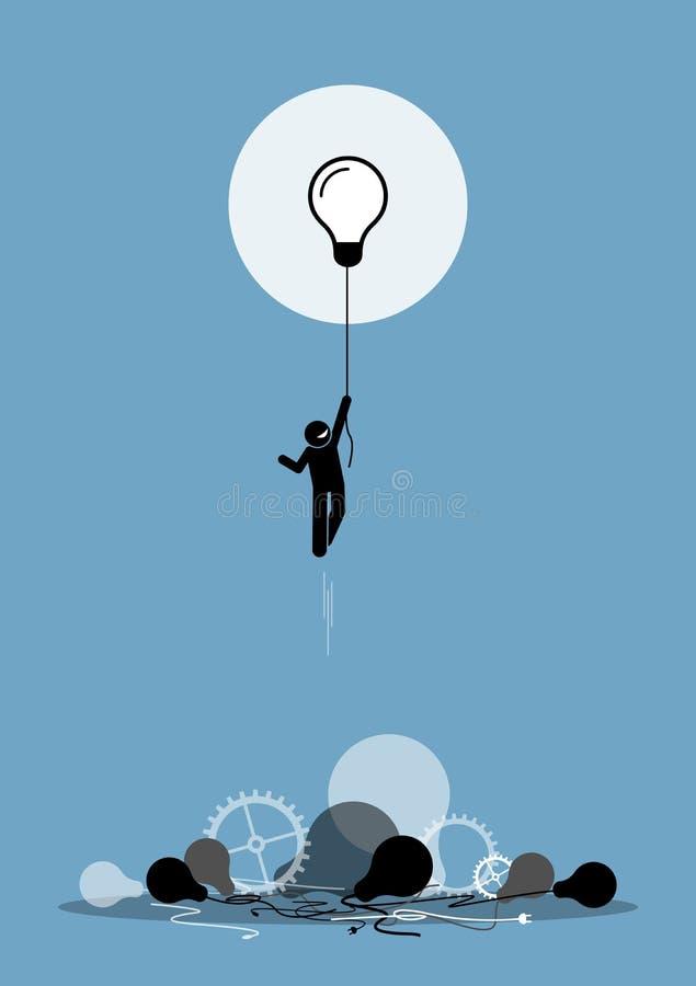 Innovatören skapade en ny funktionsduglig idé som fungerar royaltyfri illustrationer