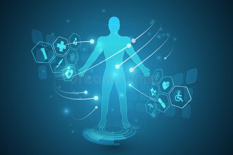 Innovat för hälsovård för framtida system för hologram för Hud manöverenhet faktisk stock illustrationer