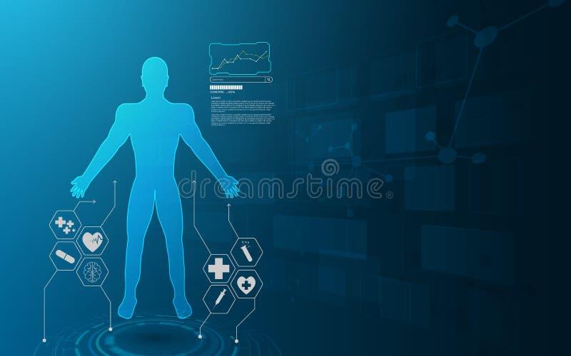 Innovat virtual de la atención sanitaria del sistema futuro del holograma del interfaz de Hud stock de ilustración
