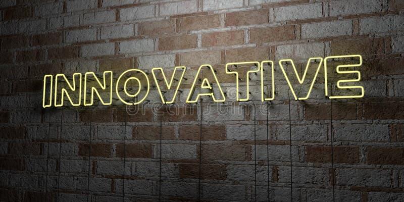 INNOVATEUR - Enseigne au néon rougeoyant sur le mur de maçonnerie - 3D a rendu l'illustration courante gratuite de redevance illustration de vecteur