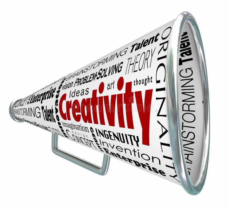 Innovateur imaginatif inventif de mégaphone de corne de brume de créativité illustration de vecteur