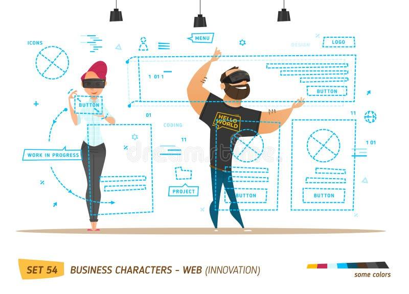 Innovatie bedrijfsstijl Het creëren van website royalty-vrije illustratie
