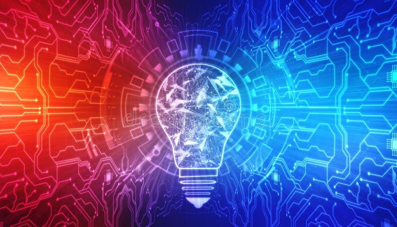 Innovatieachtergrond, creatief ideeconcept, de Achtergrond van het Kunstmatige intelligentieconcept royalty-vrije stock afbeelding